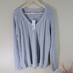 NEW Sonoma Gray Chucky Knit V-Neck Sweater